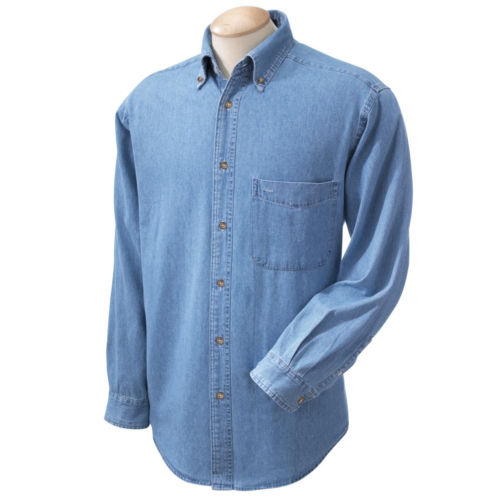 Printed Harriton Mens Long Sleeve Denim Shirts | M550 - DiscountMugs