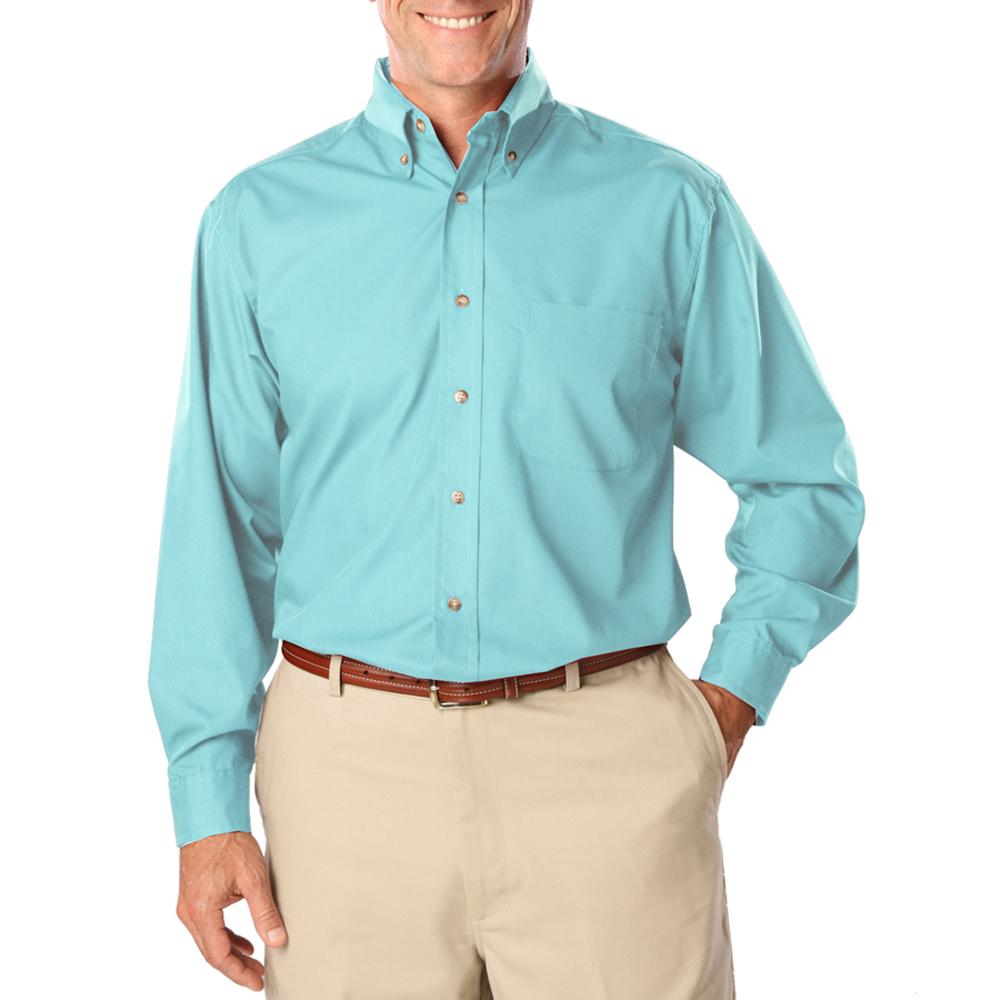 Custom mens long sleeve stain release poplin shirts blue for Aqua blue color t shirt