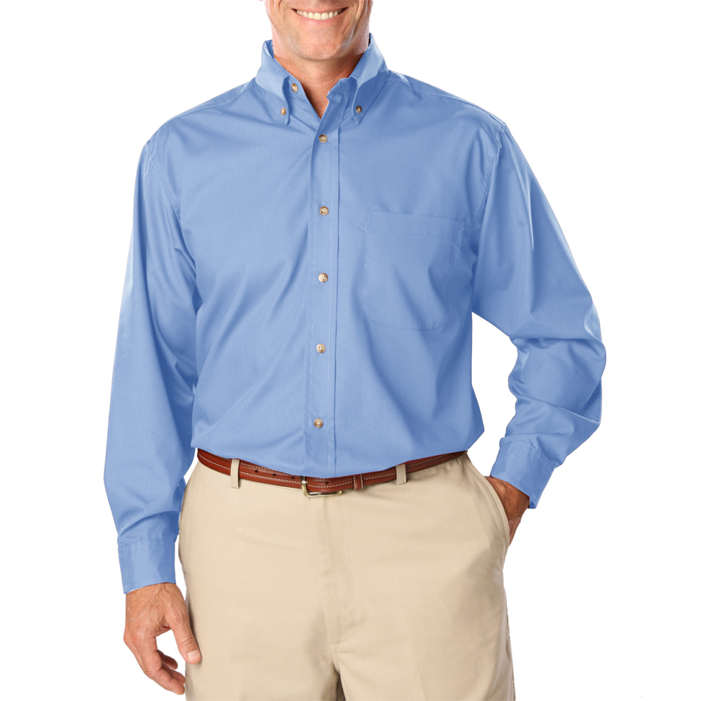 Custom mens long sleeve stain release poplin shirts blue for Long sleeve poplin shirt