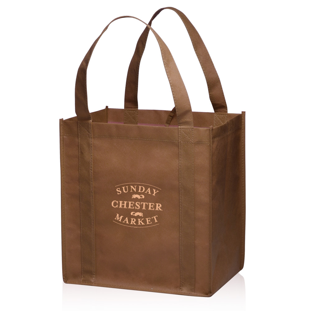Custom Small Non-Woven Grocery Tote Bags | TOT33 - DiscountMugs